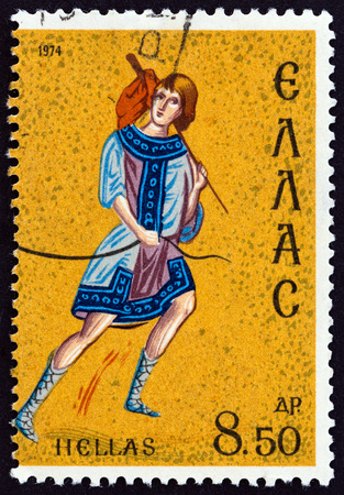 "GREECE - CIRCA 1974: A stamp printed in Greece from the ""Christmas. Flight into Egypt"" issue shows Jacob (11th century codex of Dionysos Monastery on Mount Athos), circa 1974."