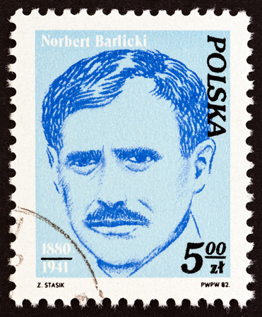 POLAND - CIRCA 1982: A stamp printed in Poland from the Activists of Polish Workers Movement issue shows Norbert Barlicki, circa 1982.