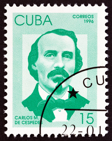 CUBA - CIRCA 1996: A stamp printed in Cuba from the Independence Fighters issue shows Carlos de Cespedes, circa 1996.