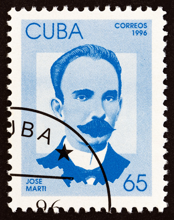 perez: CUBA - CIRCA 1996: A stamp printed in Cuba from the Independence Fighters issue shows Jose Marti, circa 1996. Editorial