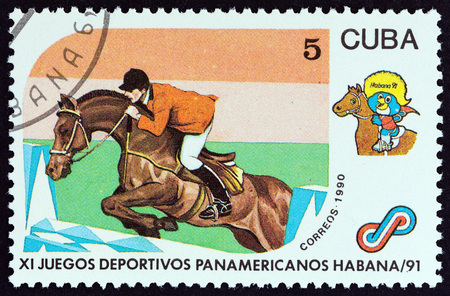 CUBA - CIRCA 1990: A stamp printed in Cuba from the 11th Pan-American Games, Havana issue shows Show jumping, circa 1990.