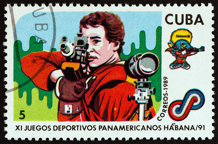 airgun: CUBA - CIRCA 1989: A stamp printed in Cuba from the 11th Pan-American Games, Havana issue shows Shooting, circa 1989.