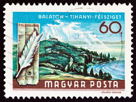 HUNGARY - CIRCA 1968: A stamp printed in Hungary from the Lake Balaton Resorts issue shows Tihany peninsula, tower and feather, circa 1968. Editorial
