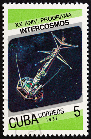 CUBA - CIRCA 1987: A stamp printed in Cuba from the Cosmonautics Day. 20th anniversary of Intercosmos program issue shows Intercosmos II, circa 1987.