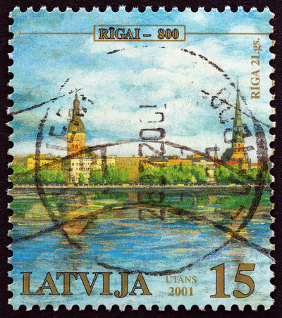 LATVIA - CIRCA 2001: A stamp printed in Latvia from the 800th Anniversary of Riga issue shows Riga, 21st century, circa 2001. Editorial