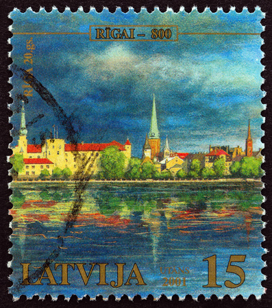 LATVIA - CIRCA 2001: A stamp printed in Latvia from the 800th Anniversary of Riga issue shows Riga 20th century, circa 2001.