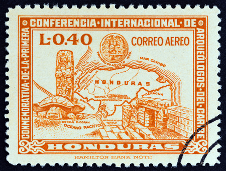 HONDURAS - CIRCA 1947: A stamp printed in Honduras from the 1st International Conference of Caribbean Archaeologists issue shows map of Honduras and Copan antiquities, circa 1947.