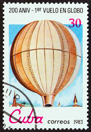 CUBA - CIRCA 1983: A stamp printed in Cuba from the Bicentenary of Manned Flight issue shows Montgolfier unmanned balloon, circa 1983. Editorial