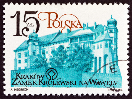 POLAND - CIRCA 1984: A stamp printed in Poland from the Renovation of Cracow Monuments issue shows Wawel castle (royal residence), circa 1984.