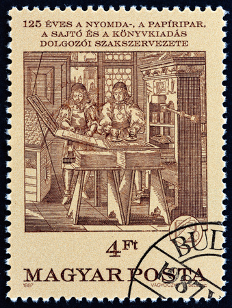 HUNGARY - CIRCA 1987: A stamp printed in Hungary issued for the 125th anniversary of Hungarian Printing, Paper and Press Workers Union shows Printing Shop (wood-print, Abraham von Werdt), circa 1987.