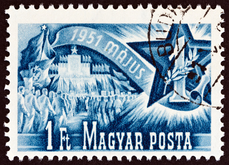 sello: HUNGARY - CIRCA 1951: A stamp printed in Hungary from the May Day issue shows  Labour Day, circa 1951.
