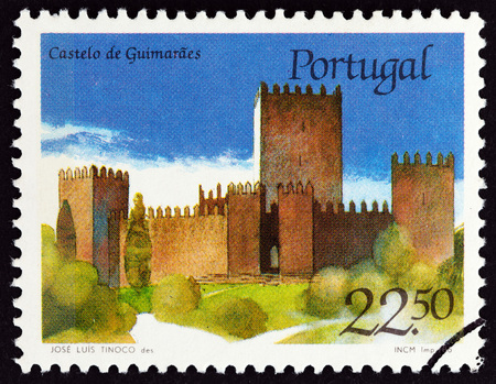 PORTUGAL - CIRCA 1986: A stamp printed in Portugal from the Portuguese Castles issue shows Guimaraes castle, circa 1986.