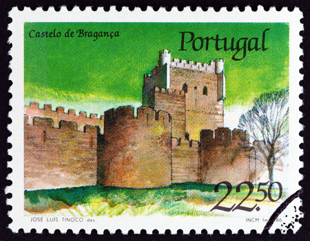 PORTUGAL - CIRCA 1986: A stamp printed in Portugal from the Portuguese Castles issue shows Braganca castle, circa 1986.