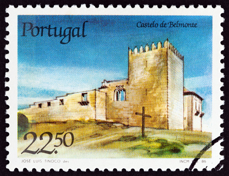 PORTUGAL - CIRCA 1986: A stamp printed in Portugal from the Portuguese Castles issue shows Belmonte castle, circa 1986. Editorial
