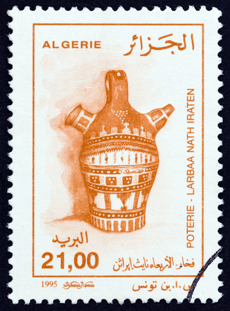 ALGERIA - CIRCA 1995: A stamp printed in Algeria from the Traditional Pottery issue shows Jar from Larbaa nath Iraten, circa 1995. Editorial