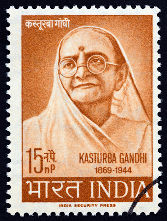 INDIA - CIRCA 1964: A stamp printed in India issued for the 20th anniversary of the death of Kasturba Gandhi shows Kasturba Gandhi, circa 1964.