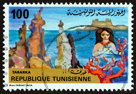 estampilla: TUNISIA - CIRCA 1981: A stamp printed in Tunisia from the Tourism issue shows Needle rocks, Tabarka, circa 1981. Editorial