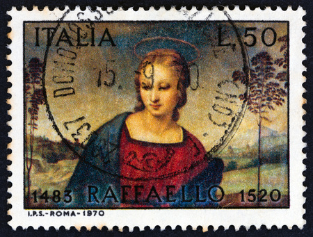 ITALY - CIRCA 1970: A stamp printed in Italy issued for the 450th death anniversary of Raphael shows Madonna of the Goldfinch, circa 1970.
