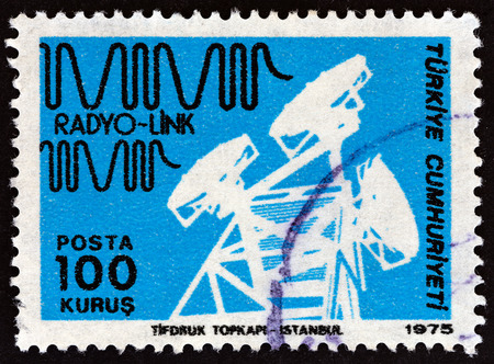 TURKEY - CIRCA 1975: A stamp printed in Turkey from the Posts and Telecommunications issue shows Radio link, circa 1975. Editorial