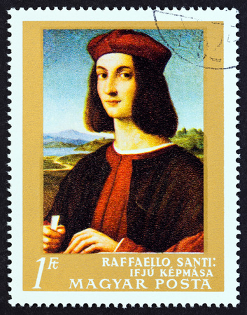 HUNGARY - CIRCA 1968: A stamp printed in Hungary from the Paintings in National Gallery, Budapest issue shows Portrait of a Young Man (Raphael), circa 1968. Editorial