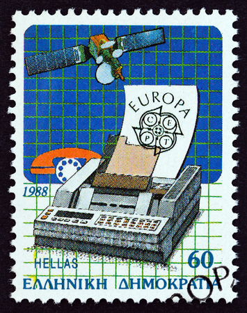 GREECE - CIRCA 1988: A stamp printed in Greece from the Europa, Transport and Communications issue shows Satellite and Fax Machine, circa 1988.