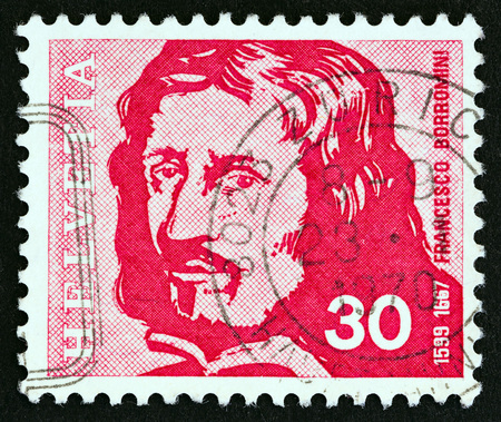 SWITZERLAND - CIRCA 1969: A stamp printed in Switzerland from the Swiss Celebrities issue shows architect Francesco Borromini, circa 1969.