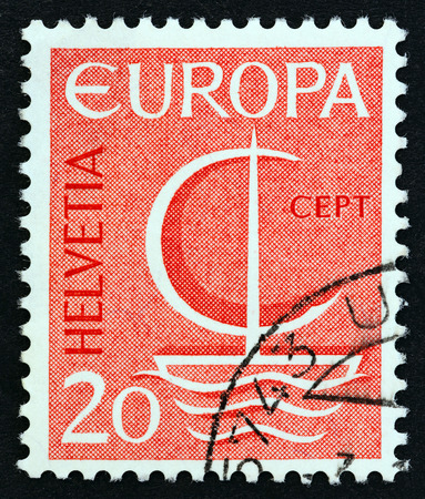 SWITZERLAND - CIRCA 1966: A stamp printed in Switzerland from the Europa issue shows Europa Ship, circa 1966.
