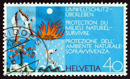 SWITZERLAND - CIRCA 1972: A stamp printed in Switzerland from the Environmental Protection issue shows The Four Elements, circa 1972.