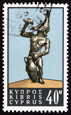 kibris: CYPRUS - CIRCA 1964: A stamp printed in Cyprus from the Cyprus Wines issue shows Silenus satyr, circa 1964.