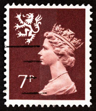 UNITED KINGDOM - CIRCA 1978: A stamp printed in United Kingdom shows Queen Elizabeth II and Royal Arms of Scotland, circa 1978. Editorial