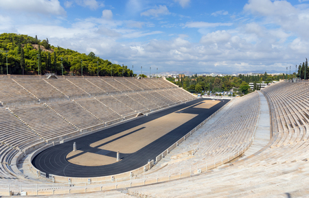 The Panathenaic Stadium, it hosted the first modern in 1896, Athens, Greece.