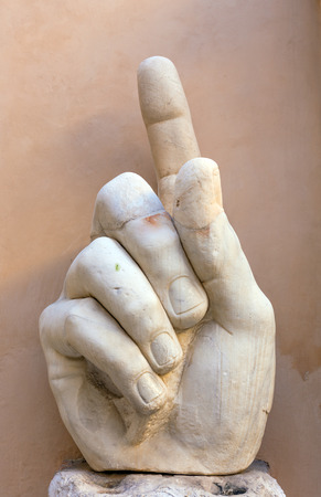 Right hand of colossal statue representing Roman emperor Constantine the Great Stok Fotoğraf - 87393621