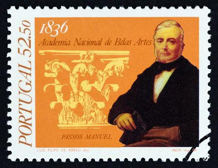 PORTUGAL - CIRCA 1986: A stamp printed in Portugal from the 150th anniversary of National Academy of Fine Arts, Lisbon issue shows director Passos Manuel and capital, circa 1986.