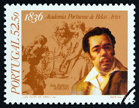 PORTUGAL - CIRCA 1986: A stamp printed in Portugal from the 150th anniversary of National Academy of Fine Arts, Lisbon issue shows Joao Baptista Ribeiro and drawing, circa 1986. Editorial
