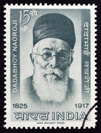 parliamentarian: INDIA - CIRCA 1963: A stamp printed in India shows parliamentarian Dadabhai Naoroji, circa 1963.