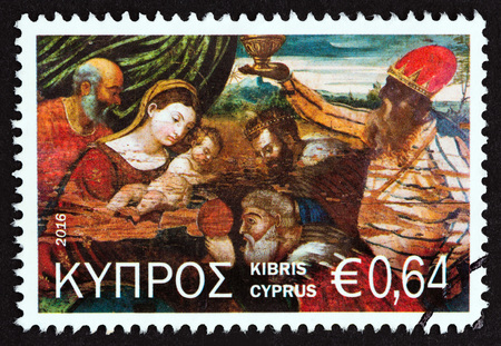 kibris: CYPRUS - CIRCA 2016: A stamp printed in Cyprus from the Christmas issue shows Adoration of the Magi, circa 2016.