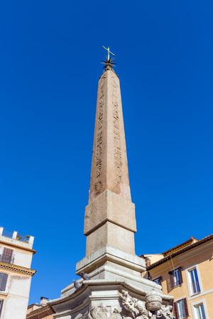 The Macuteo obelisk of the Fontana del Pantheon, Piazza della Rotonda, Rome, Italy.