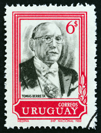 URUGUAY - CIRCA 1969: A stamp printed in Uruguay issued for the 22nd anniversary of the death of Tomas Berreta, 1875-1947 shows President Tomas Berreta, circa 1969.