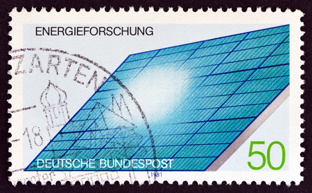 GERMANY - CIRCA 1981: A stamp printed in Germany from the Energy Research issue shows Solar Panel, circa 1981.
