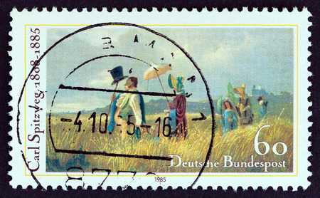 GERMANY - CIRCA 1985: A stamp printed in Germany issued for the death centenary of painter Carl Spitzweg shows Sunday Walk, circa 1985. Editorial