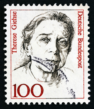 GERMANY - CIRCA 1988: A stamp printed in Germany from the Famous German Women issue shows Therese Giehse, circa 1988.