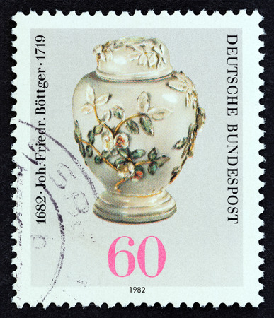 GERMANY - CIRCA 1982: A stamp printed in Germany from the 300th birth anniversary of Johann Friedrich Bottger founder of Meissen China Works issue shows Pot with Lid, circa 1982.