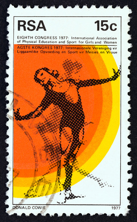 SOUTH AFRICA - CIRCA 1977: A stamp printed in South Africa issued for the 8th Congress of International Association of Physical Education and Sports for Girls and Women shows Gymnast, circa 1977.
