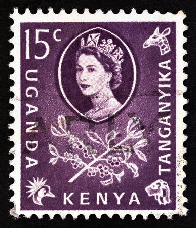 KENYA UGANDA TANGANYIKA - CIRCA 1960: A stamp printed in Kenya Uganda Tanganyika shows Queen Elizabeth II and Coffee (Coffea arabica), circa 1960. Editorial