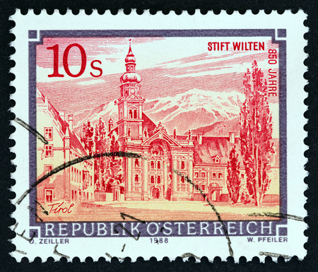 AUSTRIA - CIRCA 1988: A stamp printed in Austria from the Monasteries and Abbeys issue shows Wilten Abbey, Innsbruck, circa 1988.