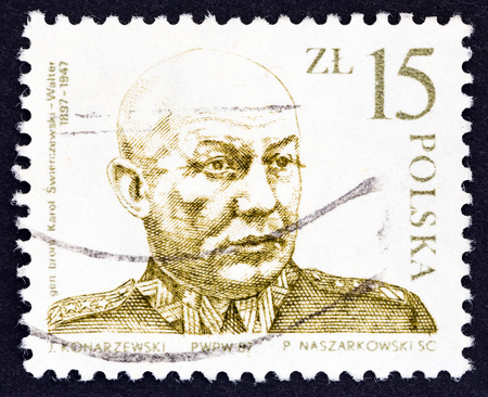 POLAND - CIRCA 1987: A stamp printed in Poland issued for the 90th birth anniversary of General Karol Swierczewski shows Karol Swierczewski, circa 1987.
