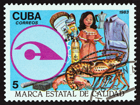 estampilla: CUBA - CIRCA 1983: A stamp printed in Cuba from the State Quality Seal issue shows  Quality Seal and Exports, circa 1983.