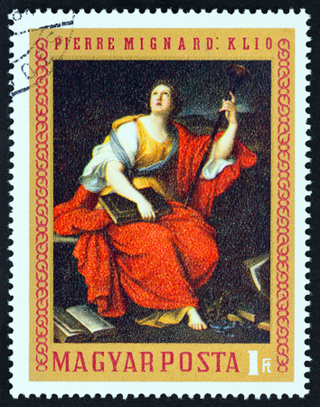 HUNGARY - CIRCA 1970: A stamp printed in Hungary from the Paintings in National Gallery, Budapest issue shows Clio (Pierre Mignard), circa 1970. Editorial