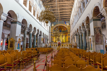 Interior of the Basilica of Hagios Demetrios  in Thessaloniki, Greece.