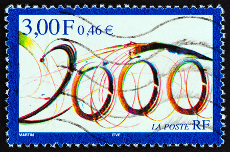 FRANCE - CIRCA 1999: A stamp printed in France issued for year 2000 shows 2000, circa 1999.